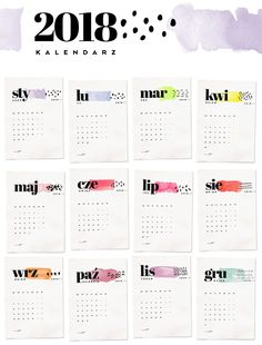 Kalendarz 2018 do druku Bujo, Calendar, Bullet Journal, Diy Crafts, Writing, Homemade, Diy Home Crafts, Being A Writer, Diy Projects