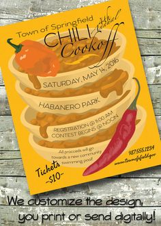 Chili Cook Off ~ Cook-off Fundraiser ~ 5x7 Invite ~ 8.5x11 Flyer ~ 11x14 Poster ~ 300 dpi Digital Invitation by DitDitDigital on Etsy