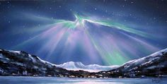 Northern Lights Painting Landscape Aurora Borealis Painting Modern Wall Art by Debora Everett