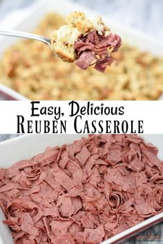 How to Make Delicious Reuben Casserole This Reuben casserole is so easy to make and it's perfect for a crowd. It's like a deconstructed Reuben sandwich and it sure beats making a lot of sandwiches. This recipe is a keeper! Sandwich Bar, Reuben Sandwich, Roast Beef Sandwich, Corned Beef Recipes, Meat Recipes, Cooking Recipes, Cabbage Recipes, Reuben Recipe, Reuben Casserole