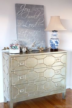 The Inspired Room - Gold Cabinet and Joy to the World Canvas