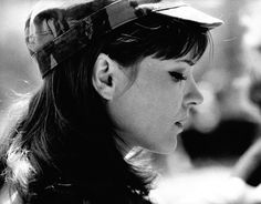 """Anna Karina on the set of """"Pierrot le Fou"""", photographed by Georges Dudognon"""
