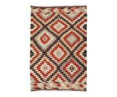 VINTAGE ANATOLIAN KILIM IN RED IVORY 4' x 6'1"