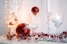 red, silver and white Christmas mantel display See more details at http://www.songbirdblog.com