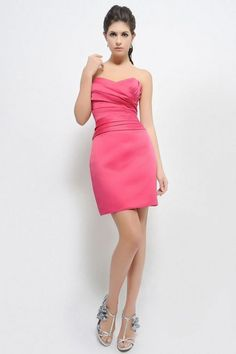 A-line Sweetheart Pleated Bodice Satin Cocktail Dress-soc0078, $157.95