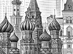 Moscow by Tatiana Trikoz, via Behance Architecture Russe, Art Sketches, Art Drawings, Perspective Drawing Lessons, Architecture Drawing Sketchbooks, House Colouring Pages, City Drawing, Building Sketch, Mandala Canvas