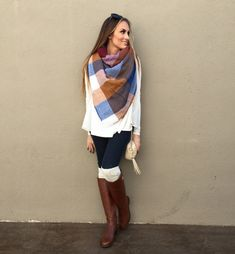 ASOS Blanket Scarf, long sleeve white tee short, dark skinny jeans, over the knee socks and Tory Burch Riding boots. Fall 2016 fashion. #HelloGorgeous