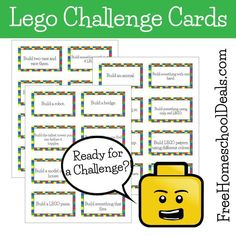 Do you have a LEGO fanatic at your house? For those kids that eat, sleep, and breathe all things LEGO, this fun set of free printable LEGO Chall Lego Challenge, Challenge Cards, Lego Therapy, Therapy Ideas, Lego Math, Lego Activities, Holiday Activities, Educational Activities, Summer Activities