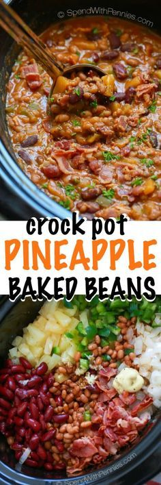 Pineapple Crock Pot Baked Beans make for a one of a kind deliciousside dish for your next BBQ or potluck. The recipe comes together in a flash and it is likely to disappear quicklyas yourfriends and family will absolutely need a second helping!: