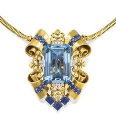 Tiffany & Co., a pendant necklace/brooch which features a carat aquamarine as the centerpiece of a regal gold ribbon and scroll motif setting. The chain and pendant/brooch were produced between 1939 and Cartier Jewels at Sotheby's Australia Sep Sale Cartier Jewelry, Antique Jewelry, Jewelery, Vintage Jewelry, Antique Wedding Rings, Antique Engagement Rings, Sapphire Pendant, Sapphire Necklace, Blue Sapphire