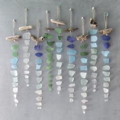-Sea Glass Suncatcher -Single strand seaglass sun catcher, sea glass sun catcher for weddings, housewarming, boho wall hanging, sea glass art Add a little color and beach vibe to your world with this handmade. Sea Glass Crafts, Sea Glass Art, Sea Glass Jewelry, Sea Glass Decor, Stained Glass, Sea Glass Beach, Glass Vase, Sea Glass Colors, Jewelry Tree