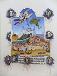 Folio 195r des Très Riches Heures du duc de Berry. Saint Michel combattant le…