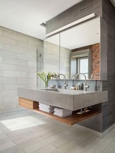 North End Loft Combination of Three Residential Units into a Single Two-Story Loft Industrial Bathroom Design, Home Improvement, Industrial Style Bathroom, Concrete Bathroom, Industrial Bathroom, Contemporary Design, Bathroom, Bathroom Design, Bathroom Decor