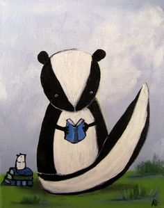 Kids Wall Art Woodland Nurery Skunk Painting for by andralynn, $50.00