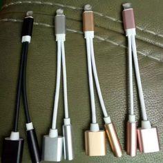 2で1 usb充電充電器アダプタ用iphone 7 iphone7プラスヘッドホンジャックauxケーブル照明にdc 3.5ミリメートルオーディオコンバータO35