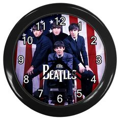"THE BEATLES USA Flag [10"" Wall Clock *Black/Silver Frame]"