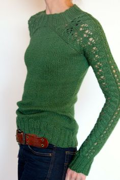 Bloomsbury sweater. Pattern can be found on Raverly. Love the color against the dark jeans.