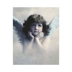 Sweet Rosy Cheeked Vintage Angel in Clouds Gallery Wrapped Canvas