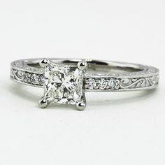 I like the scrollwork and scale of the rock Vintage Engagement Ring | Delicate Antique Scroll |Brilliant Earth