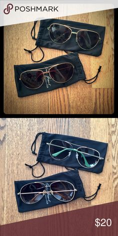 2 pairs of sunnies ☀️ 2 pairs of aviator sunnies. Gold frames. One with green arm accents, one with orange. Never worn. Can split the pair. Foster Grant Accessories Sunglasses