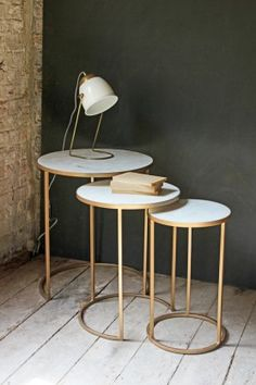 Brass & Marble Round Nest of 3 Side Tables