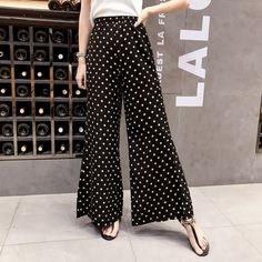 Newest Summer Fashion Female Casual Dot Black Chiffon Wide Leg Pants women Loose Pant trousers Elastic High Waist Boho Pants. Fashion Brand, New Fashion, Girl Fashion, Womens Fashion, Fashion Pants, Hijab Fashion, Pants For Women, Clothes For Women, Boho Pants