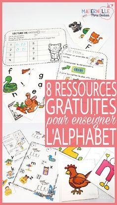 8 FREE French resources to help you encourage your kindergarten students to learn and practice the alphabet. Fun, free ways to practice letter names and sounds! French Teaching Resources, Teaching French, Teaching Kids, Teaching Spanish, Teaching Reading, Teaching Tools, French Flashcards, French Worksheets, Kindergarten Literacy