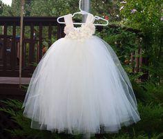 Flower Girl Tutu Dress Wedding Ivory Champagne Ivory by Lalastutu, $89.00