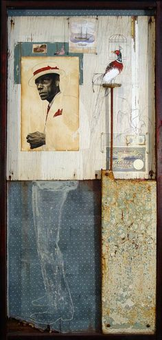 """""Havana"" 27"" x 48"" Chacoal drawing on paper. Oil on wood, metal, wood, fabric, beeswax. Mixed media."" -Jules Arthur, Artist"