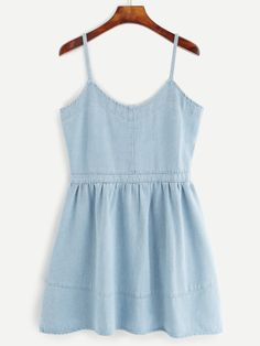 Vestido de tirantes finos denim - azul