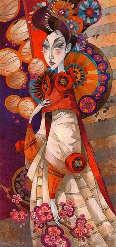 ☂ Paper Lanterns and Parasols ☂ Japonisme Art and Illustration - David Galchutt Art And Illustration, Silk Painting, Painting & Drawing, Art Fantaisiste, Art Populaire, Rug Hooking Patterns, Whimsical Art, Art Design, Anime Comics