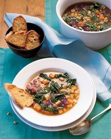 Kale White Bean Sweet Potato Soup Lucky New Year's Food Recipe:  For a vegetarian version of this soup, substitute Homemade Vegetable Stock for the chicken stock.