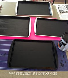 chalkboard cookie sheets yea is also magnetic