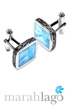 Smart and sophisticated, our Titan cuff links boast squares of gleaming larimar gemstone set in sterling silver. With intricate design around the edges, Titan is a choice addition to any man's wardrobe. #stackingbracelets #crystalquartzbracelets #beecharm #apatitebracelets #larimarbracelets #bracelets