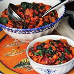 Sweet Potato Chili with Kale...changed this up by adding diced chicken instead of the beans ..it was very good.