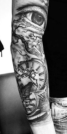Mysterious Sleeve Clock Tattoos For Men
