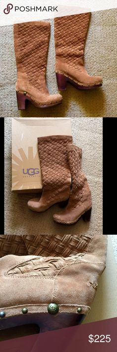 🙀OMG🙀AMAZING BOOT UGG FULL SUEDE & LEATHER BOOTS WOW THESE BOOTS ARE THE BEST PAIR OF SUEDE BOOTS EVER•EUC•GOES W/ANYTHING JEANS & SKIRTS•DRESS UP OR DOWN WEARING THESE•GREAT DETAIL STUD WORK•WOODEN HEEL PERFECT HEIGHT BRAIDED LEATHER WORK ON TOP PORTION DONT MISS THESE ARE DEF ONE•OF•A•KIND UGGS AT ITS BEST UGG Shoes Heeled Boots