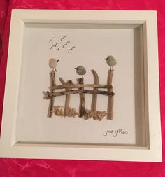 Birds Sitting On The Fence Pebble Art