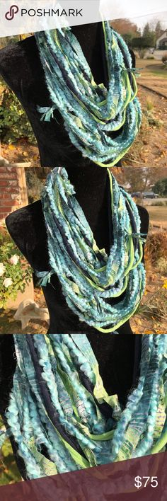 Handmade rag knotted infinity scarf Opera length Multi textured handmade strands infinity scarf Second Nature Designs by cc Accessories Scarves & Wraps