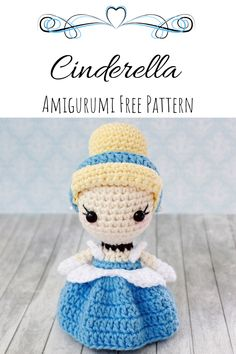 This cute princess amigurumi doll is perfect for any disney collection the pattern is completely free both english and spanish enjoyA cute representation of a Disney classic. This amigurumi Cinderella is too darn cute, and the best part is that this Doll Amigurumi Free Pattern, Crochet Amigurumi Free Patterns, Crochet Animal Patterns, Crochet Doll Pattern, Amigurumi Doll, Disney Crochet Patterns, Pattern Sewing, Knitting Patterns, Amigurumi Animals
