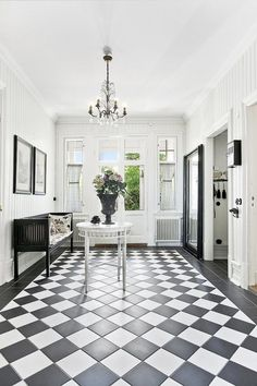 Hallway with checkerboard floor New Homes, French Country Decorating, Foyer Decorating, French Provincial Home, Home, Country Interior, Hall Design, Hallway Designs, Black And White Tiles