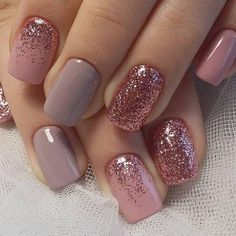 """Short nails are much easier for women. Especially working women prefer short nails. If you love short nails, you must see """"Wonderful Short Nail Desi. glitter gel nail designs for short nails for spring # Glitter Gel Nails, Rose Gold Nails, Fun Nails, Pretty Nails, Sparkle Nails, Acrylic Nails, Matte Nails, Pink Gel Nails, Shellac Nail Art"""