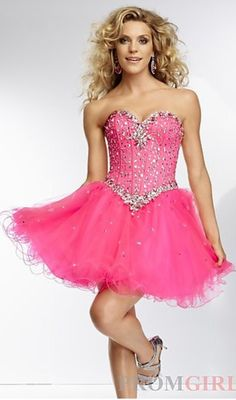 Pink short prom dress full of so much glitz!
