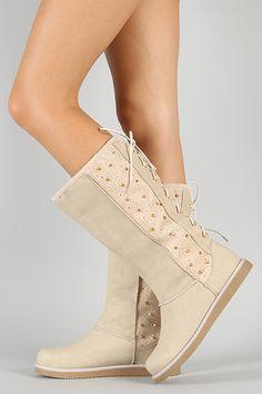 Liliana Honesty-1 Studded Spike Back Lace Up Knee High Boot