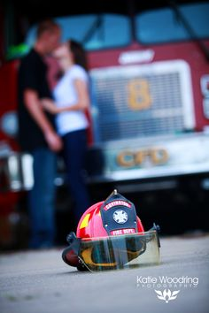 Firefighter engagement session at Co. 8 Covington, KY Fire Department. Copyright Katie Woodring Photography LLC
