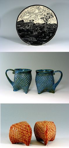 "235. Jackson Gray - ""Lone Coyote"" Black & white sgraffito platter, 13"" diameter and suitable for hanging. Large hand-built Tri-foot mugs in Mottled Blue. Adorable Tri-foot Salt & Pepper Shakers. All will be available at the CCM San Francisco show. www.jackpots-pottery.com"