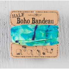 Boho Bandeau, Aqua & Lime Tie Dye