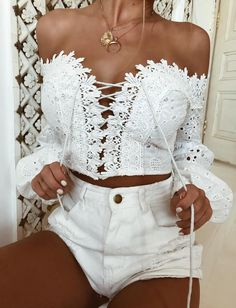 Women Off Shoulder Beach Blouse Summer Lace Blusas Long Sleeve Hollow Out Loose White Blouse Tops Trend Fashion, Fashion Outfits, Womens Fashion, 50 Fashion, Stylish Outfits, Style Fashion, Looks Com Short, Lingerie Look, Style Casual