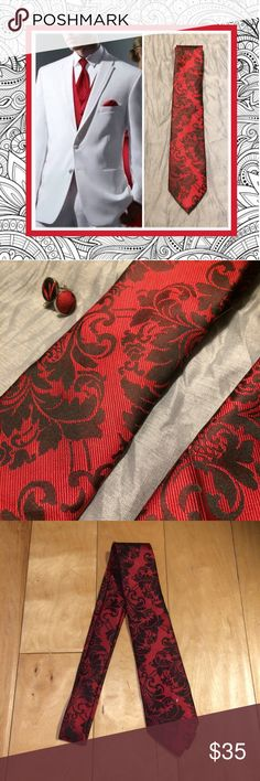 🍒New 3pc: set GQ red Paisley tie, hanky & cuff Unique Styles new three piece gentleman red and black floral GQ Style men neck tie, Kerchief and cufflink set. Very stylish dapper cool pattern elegant classy chic for business, interview, wedding, formal, prom, dinner, date, job, work. very cheek Gothic Wiccan Victorian style. NWOT Unique Styles necktie Accessories Ties