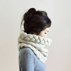 Chunky Cowl Hood Circle Scarf Snood Scarf Knit Scarf by IRISMINT